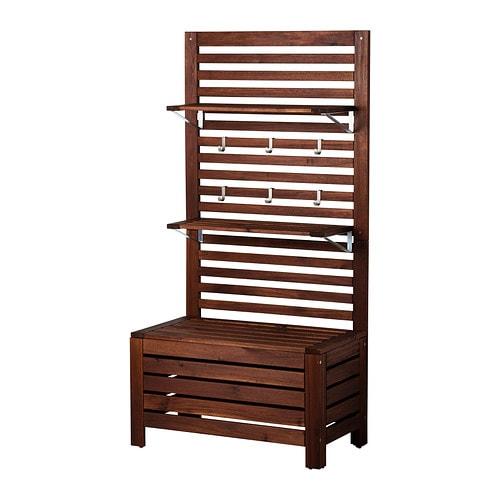 ÄPPLARÖ Bench w/panel and shelves, outdoor, brown stained brown