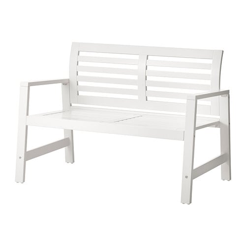 pplar bench with backrest outdoor white ikea. Black Bedroom Furniture Sets. Home Design Ideas
