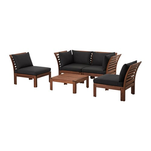 pplar h ll 4 seat conversation set outdoor brown stained black ikea. Black Bedroom Furniture Sets. Home Design Ideas