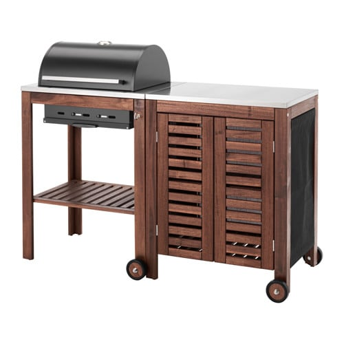 pplar klasen charcoal grill with cabinet brown stained stainless steel color ikea. Black Bedroom Furniture Sets. Home Design Ideas