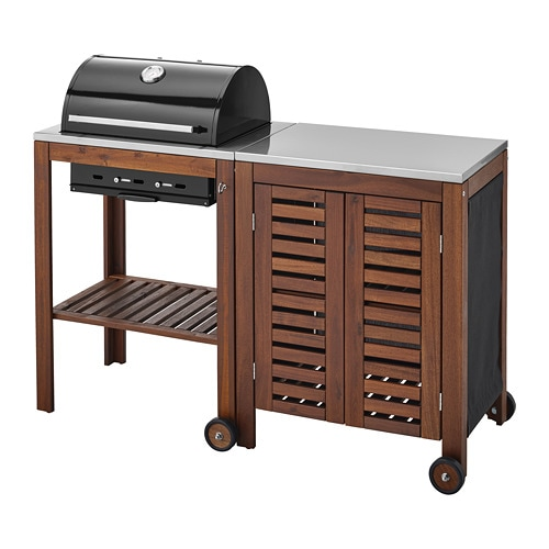 ÄPPLARÖ / KLASEN Charcoal Grill With Cabinet   Brown Stained/stainless Steel  Color   IKEA
