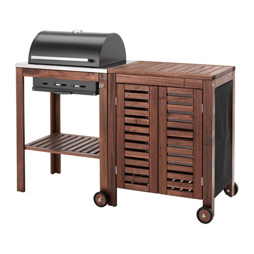 pplar klasen charcoal grill with cabinet brown stained ikea. Black Bedroom Furniture Sets. Home Design Ideas