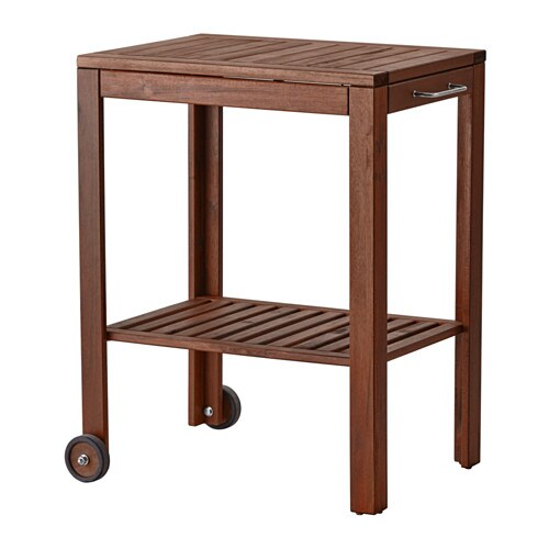 ÄPPLARÖ / KLASEN Serving cart, outdoor, brown stained brown stained