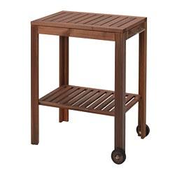 f8e2e0876b63 ÄPPLARÖ / KLASEN Serving cart, outdoor, brown stained