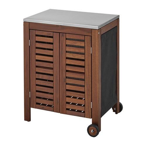 ÄPPLARÖ / KLASEN Storage Cabinet, Outdoor   Brown Stained/stainless Steel  Color   IKEA