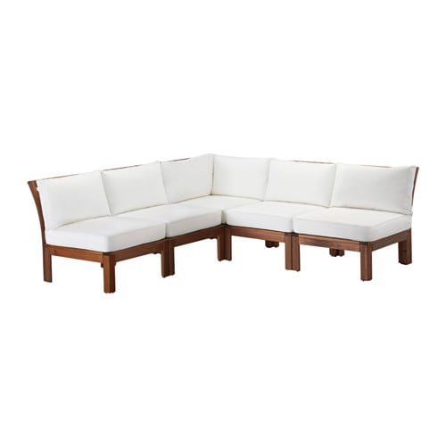 ÄPPLARÖ KUNGSÖ 5 seat sectional outdoor brown stained white IKEA