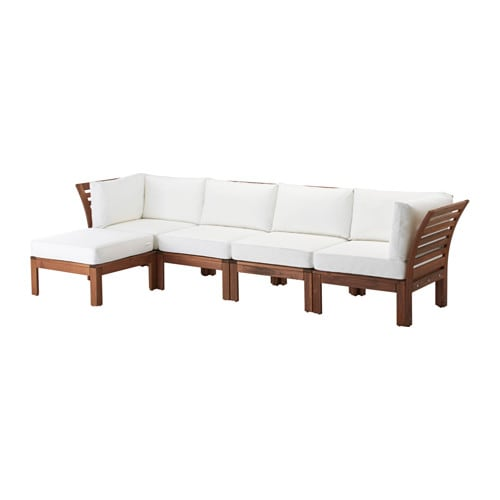 Pplar kungs 4 seat sofa with footstool outdoor ikea for Ikea outdoor sectional