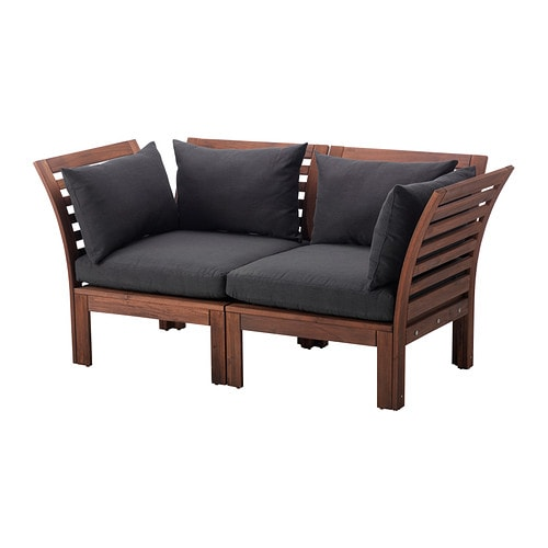 ÄPPLARÖ Loveseat, outdoor, brown brown stained, Hållö black black brown stained/Hållö black