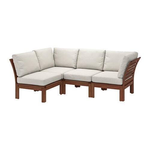 ÄPPLARÖ - Modular corner sofa 3-seat, outdoor, brown stained,  Frösön/Duvholmen beige