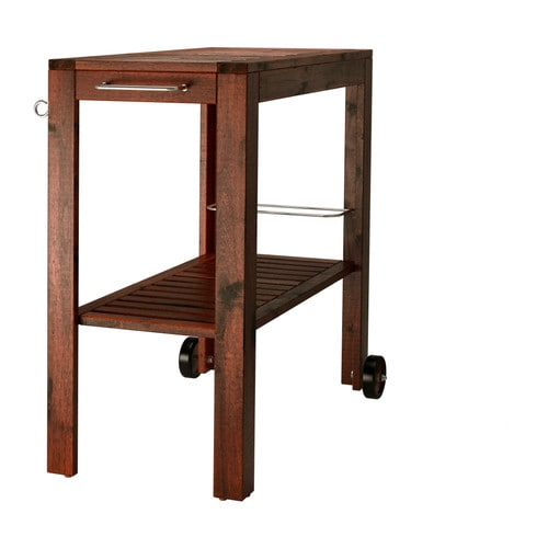 ÄPPLARÖ Outdoor serving cart IKEA The cart is equipped with a rack for bottles, keeping them in place.