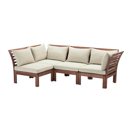ÄPPLARÖ 4-seat sectional, outdoor, brown brown stained, beige Hållö beige brown stained/Hållö beige