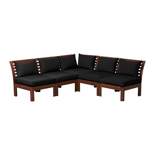 ÄPPLARÖ 5-seat sectional, outdoor, brown stained, Hållö black black brown stained/Hållö black