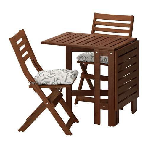 pplar table and 2 folding chairs outdoor pplar brown stained steg n beige ikea. Black Bedroom Furniture Sets. Home Design Ideas