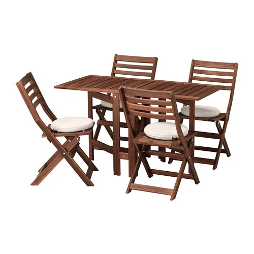 Applaro Table And 4 Folding Chairs Outdoor Applaro Brown Stained