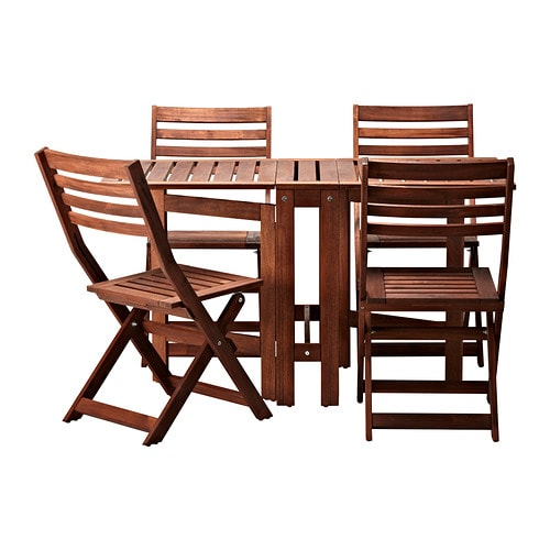 Pplar table and 4 folding chairs outdoor pplar brown stained ikea - Ikea wooden dining table chairs ...