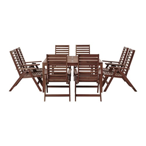 ÄPPLARÖ Table+ and 8 reclining chairs, outdoor brown stained Äpplarö outdoor brown stained