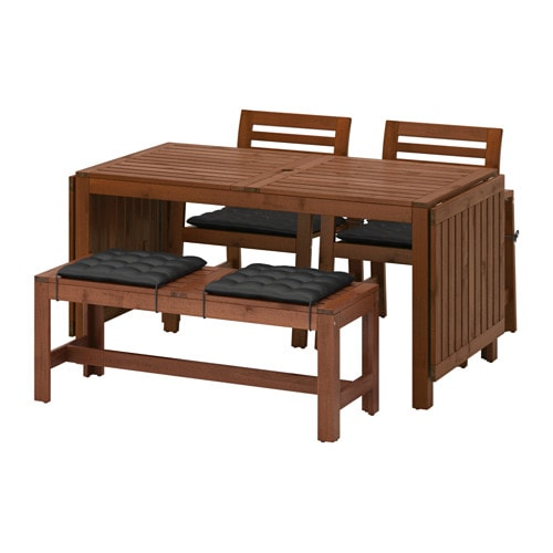 pplar table 2 armchairs and bench pplar brown stained h ll black ikea. Black Bedroom Furniture Sets. Home Design Ideas