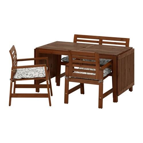 Pplar table 2 armchairs bench outdoor pplar - Mesa exterior ikea ...