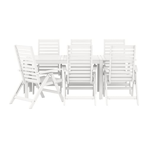 ÄPPLARÖ Table + 6 reclining chairs, outdoor, white white