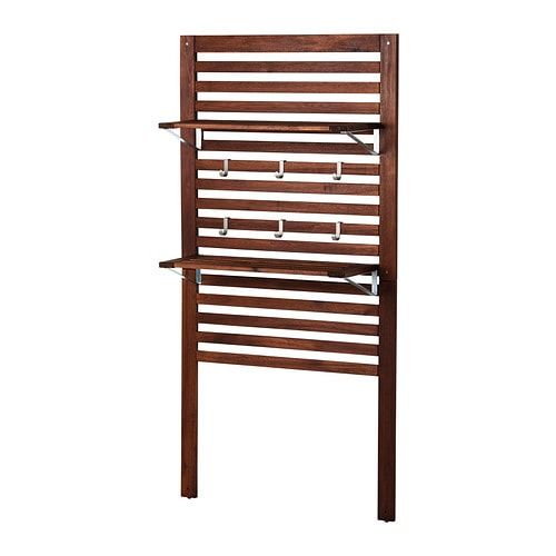 ÄPPLARÖ Wall panel+2 shelves, outdoor, brown stained brown