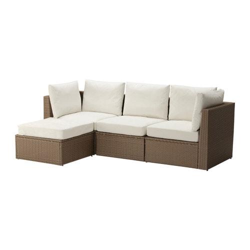 ARHOLMA Sofa with footstool, outdoor, brown, beige brown/beige