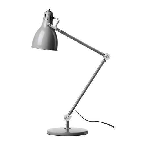 ARÖD Work lamp IKEA Adjustable arm and head makes it easy to direct the light.  Directed light; gives a good concentrated beam of light for reading.