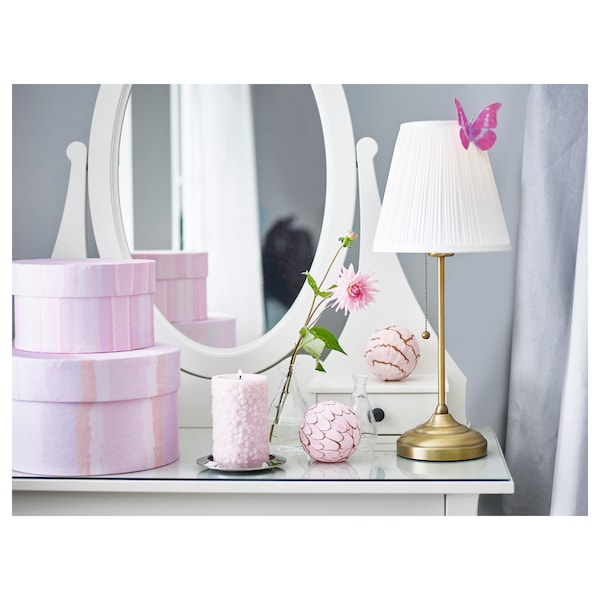 ÅRSTID Table lamp with LED bulb, brass/white