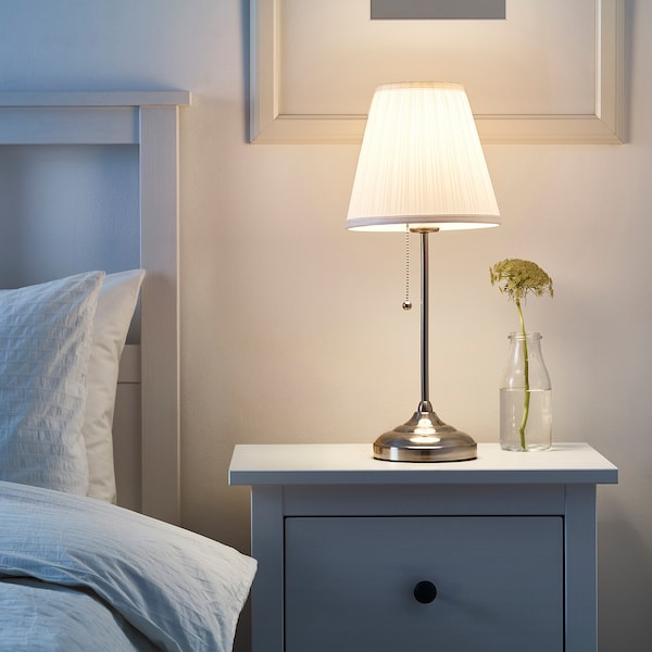 ÅRSTID Table lamp with LED bulb, nickel plated/white