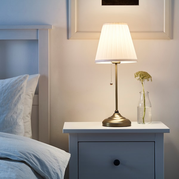 "ÅRSTID table lamp with LED bulb brass/white 100 W 22 "" 6 "" 9 "" 6 ' 7 """