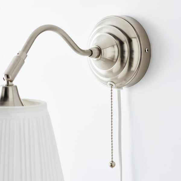 ÅRSTID Wall lamp with LED bulb, nickel plated/white