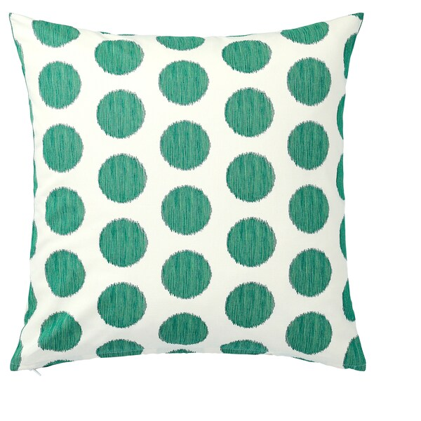 "ÅSATILDA cushion cover natural dark green/dotted 20 "" 20 """