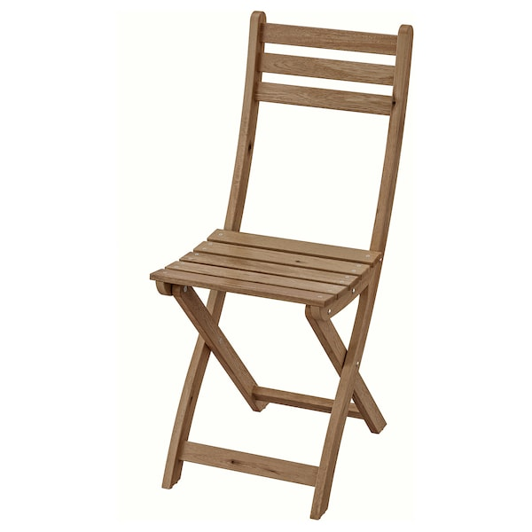 "ASKHOLMEN chair, outdoor foldable light brown stained 243 lb 14 1/8 "" 19 1/4 "" 34 1/4 "" 14 1/8 "" 11 3/4 "" 18 1/8 """