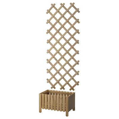 ASKHOLMEN flower box with trellis, outdoor gray-brown stained
