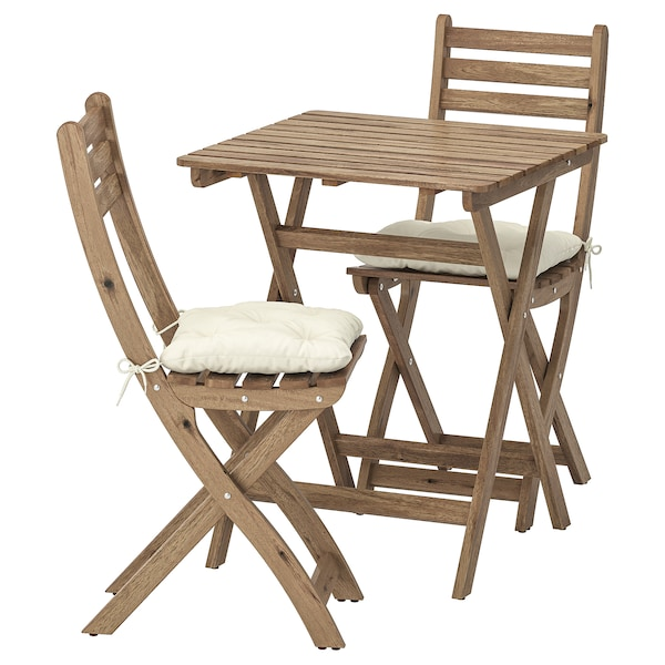ASKHOLMEN Table+2 chairs, outdoor, gray-brown stained/Kuddarna beige