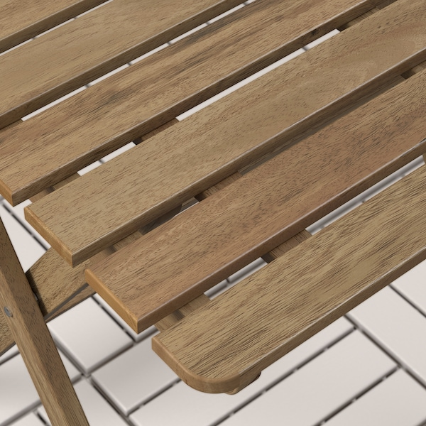 ASKHOLMEN table+2 chairs, outdoor gray-brown stained/Kuddarna beige