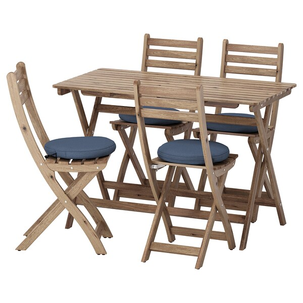ASKHOLMEN table and 4 folding chairs, outdoor gray-brown stained/Frösön/Duvholmen blue