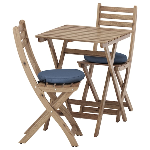 ASKHOLMEN Table and 2 folding chairs, outdoor, gray-brown stained/Frösön/Duvholmen blue