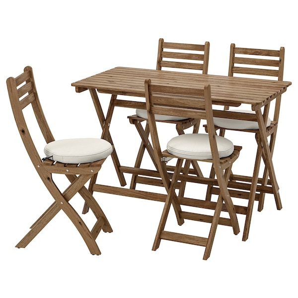 ASKHOLMEN Table and 4 folding chairs, outdoor, gray-brown stained/Frösön/Duvholmen beige