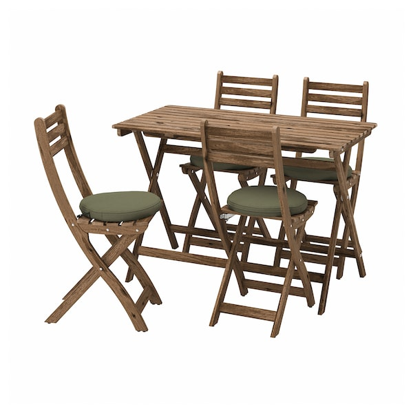 ASKHOLMEN Table and 4 folding chairs, outdoor, gray-brown stained/Frösön/Duvholmen dark beige-green