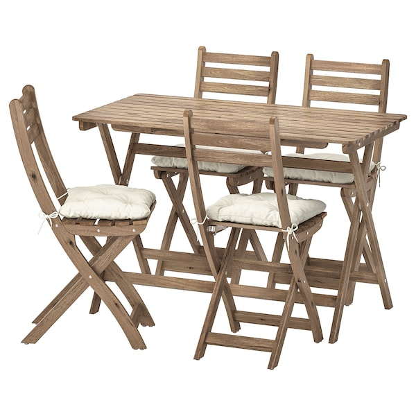 ASKHOLMEN Table and 4 folding chairs, outdoor, gray-brown stained/Kuddarna beige