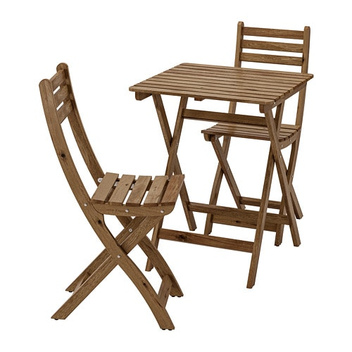Askholmen Table 2 Chairs Outdoor Gray Gray Brown Stained