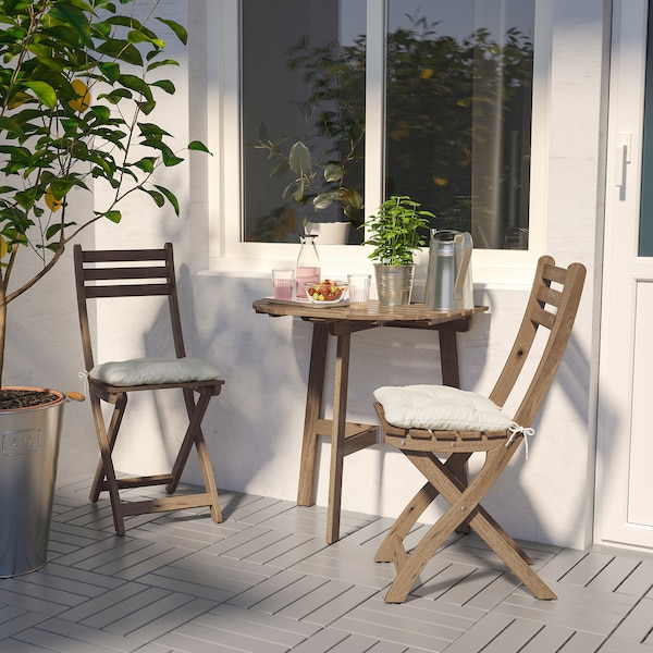 "ASKHOLMEN table for wall, outdoor folding light brown stained 27 1/2 "" 17 3/8 "" 28 """