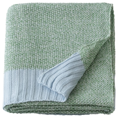"ASKLÖNN Throw, green/blue, 51x67 """