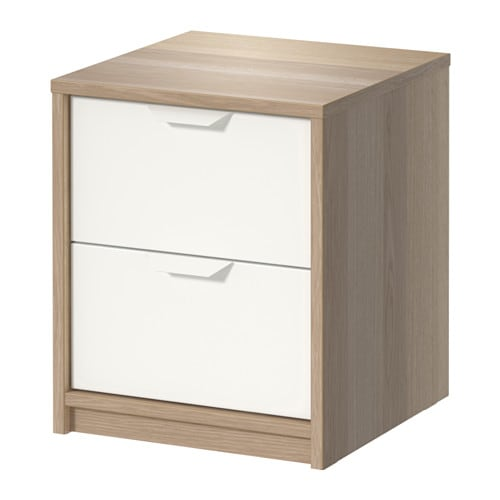 ASKVOLL 2-drawer chest, white stained oak effect, white white stained oak effect/white 16 1/8x18 7/8