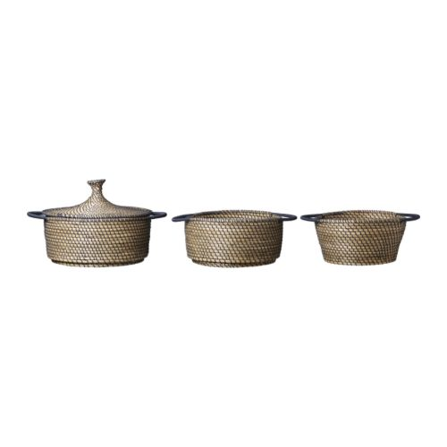 ÅSUNDEN Basket, set of 3, dark gray