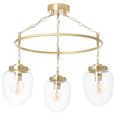 ÅTERSKEN Pendent lamp with 3 lamps, clear glass