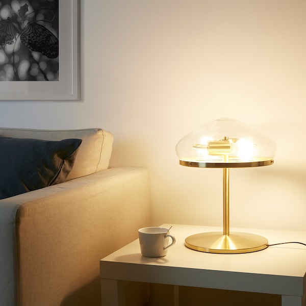 ÅTERSKEN Table lamp with LED bulb, clear glass