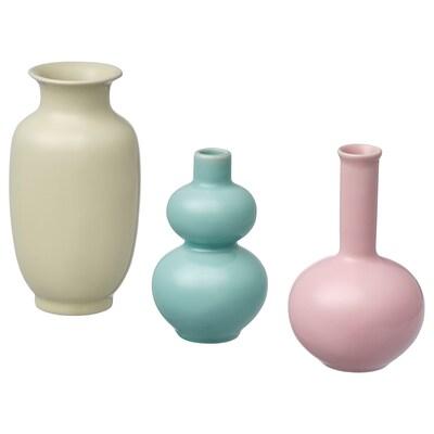 ÅTERTÅG vase, set of 3 green/pink/yellow