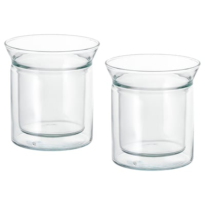 """AVRUNDAD tumbler double-walled/clear glass 5 """" 5 oz 2 pack"""