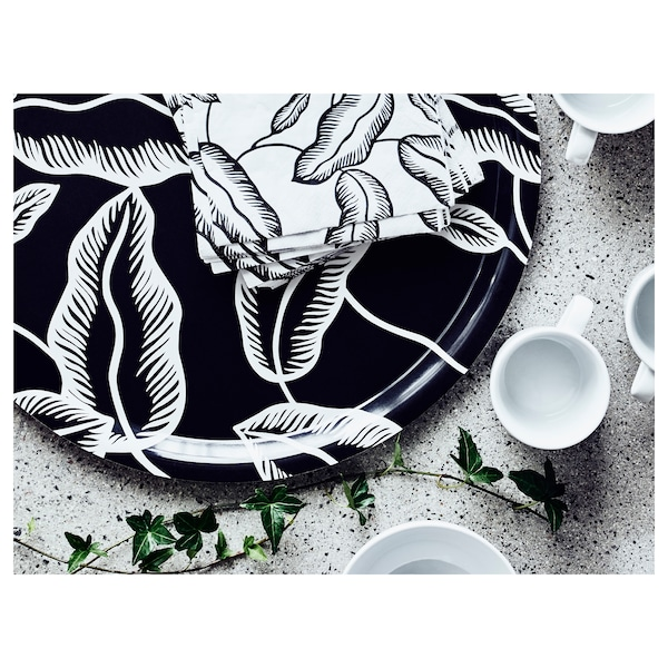 AVSIKTLIG Paper napkin, white/black leaves, 13x13 ""